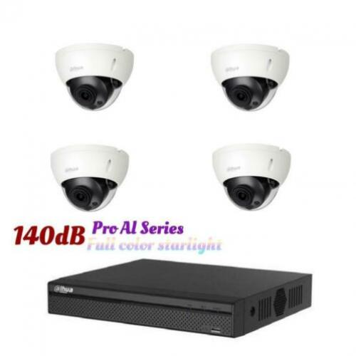 4MP Dahua Starlight IP POE camera set/NVR+4x cameras (140dB)